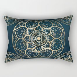 Mandala Night Blue Rectangular Pillow