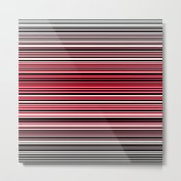Vibrant red and monochrome abstract horizontal linework Metal Print