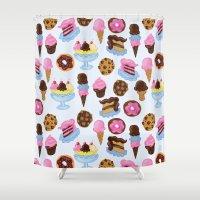 dessert Shower Curtains featuring Dessert Pattern by Julia Emiliani