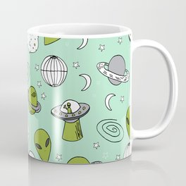 Alien outer space cute aliens french fries rad sodas pattern print mint Coffee Mug