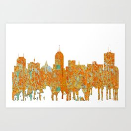 Fresno, California Skyline - Rust Art Print