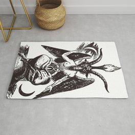 Black and Pink Baphomet Rug