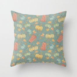 scattered autumn pumpkins on winter sky blue Throw Pillow