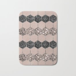 Blush Hexagon Glitter Glam #1 #geometric #decor #art #society6 Bath Mat