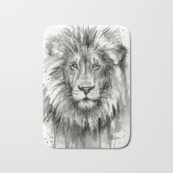 Lion Watercolor Animal Bath Mat