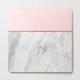 Blush Pink Rose Gold Marble Pattern Metal Print