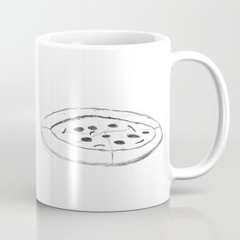 Pizza Pencil Drawing - Sketch Illustration Cartoon Black and White Comic Art Foodie Coffee Mug