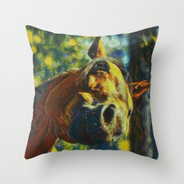 Curious Horse II Throw Pillow