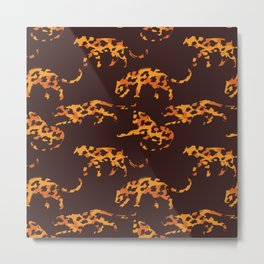 Trendy brown orange yellow modern safari leopard animal print Metal Print