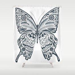 Blue Butterfly Mandala Shower Curtain