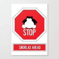 snorlax Canvas Prints featuring Stop! Snorlax ahead by Marta Beltowska Photography