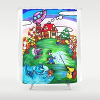 animal crossing Shower Curtains featuring Animal crossing invasioni  by Cristina Lunat Sugamele