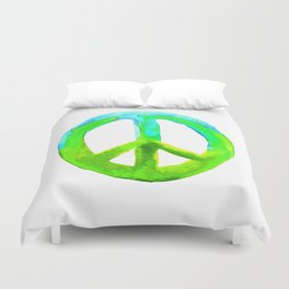 Watercolor Tie Dye Peace Sign Turquoise Lime on White Duvet Cover