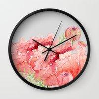 craftberrybush Wall Clocks featuring Pink peonies in blue jar by craftberrybush