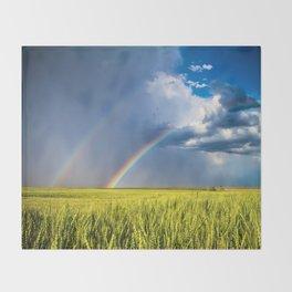 Daydream - Double Rainbow Above Kansas Wheat Field Throw Blanket