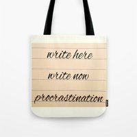 writer Tote Bags featuring Writer Inspiration by Mock Design