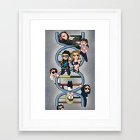 cosima Framed Art Prints featuring Just Cloning Around by Reddpawz