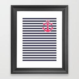 12 Blue , white , striped Framed Art Print