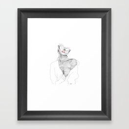 line drawing of a beautiful muse Framed Art Print