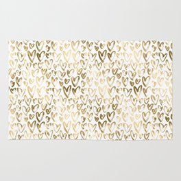 Gold Hearts Pattern on White Rug