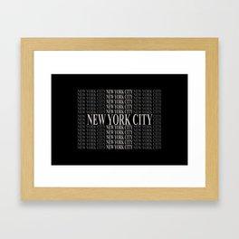 New York City (type in type on black) Framed Art Print