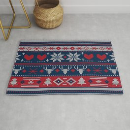 Ugly Christmas Sweater Navy & Red Rug