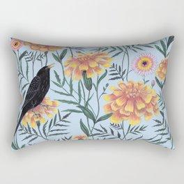 Blackbirds in the Marigolds Rectangular Pillow