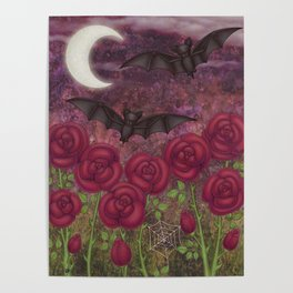 bats and roses Poster