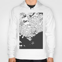 singapore Hoodies featuring Singapore Map Gray by City Art Posters