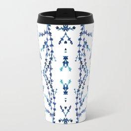 Vines Kaleidoscope (blue on white) Travel Mug