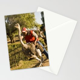 Course d'Autruches // Ostrich Racing Stationery Cards