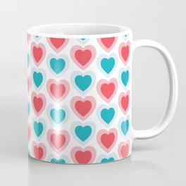 Mid-century Modern Hearts, Abstract Vintage Heart Pattern in Cherry Pink and Mint Teal Color Coffee Mug