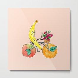 Biking Banana Metal Print