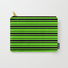 Bright Green and Black Horizontal Var Size Stripes Carry-All Pouch