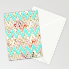 Chic floral watercolor gold chevron pastel teal pattern Stationery Cards