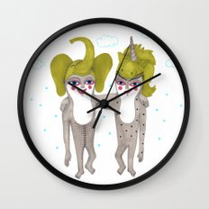 friends with costumes Wall Clock