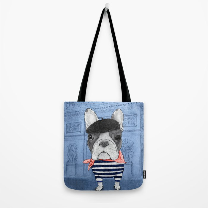 Frenchie with Arc de Triomphe Tote Bag
