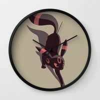 umbreon Wall Clocks featuring Umbreon stalking by Criminal Crow