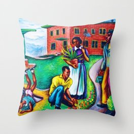 """African American Classical Masterpiece """"The Results of Good Housing"""" by Hale Woodruff Throw Pillow"""