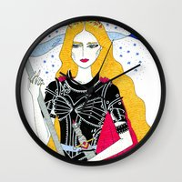 justice league Wall Clocks featuring Justice by Alxndra Cook