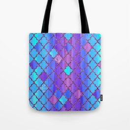 Moroccan Tile Pattern In Purple And Aqua Blue Tote Bag