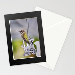 Hummingbird on Train Windchime. © J. Montague. Stationery Cards