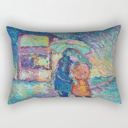 Lovers in Rainy London - romantic city landscape for Valentines day by Adriana Dziuba Rectangular Pillow