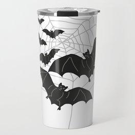 Black Bats with Spider Web Halloween Travel Mug