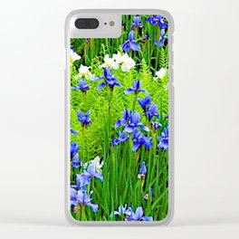 BLUE & WHITE  IRIS FLOWER GARDEN Clear iPhone Case