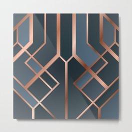 Dark Blue Art Deco Metal Print