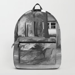 Watercolor Forest Path (Black and White) Backpack