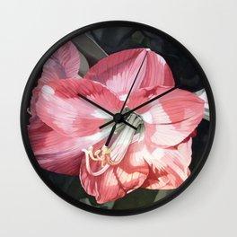 Pink Amaryllis Watercolor Botanical Garden Flower Painting Nature Art Wall Clock
