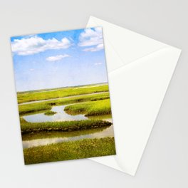 View in Green and Blue from Bass Hole Boardwalk at Grays Beach Yarmouth Port MA Cape Cod Summer Stationery Cards