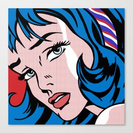 Girl with Hair Ribbon03++BlueHair3_flipped Canvas Print